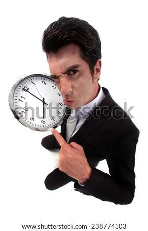 Angry at a clock - stock photo