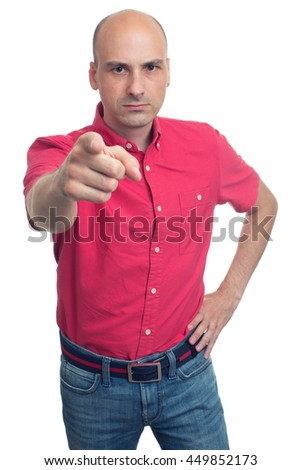 angry bald man pointing finger at you. Isolated on white background - stock photo