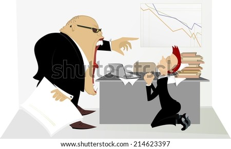 Angry boss berates his subordinate - stock photo
