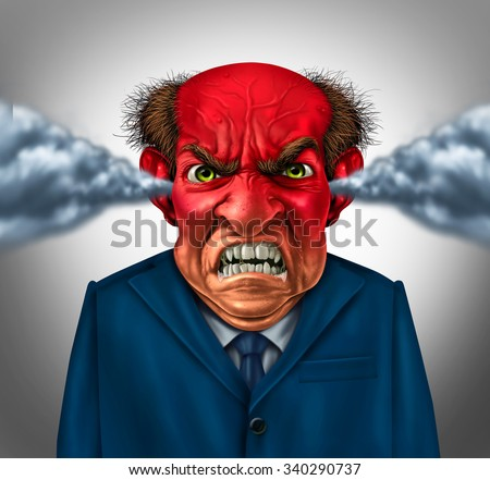 Angry boss concept as an outraged business manager with a short temper blowing steam and foaming at the mouth as a corporate symbol for anger and stress at work. - stock photo