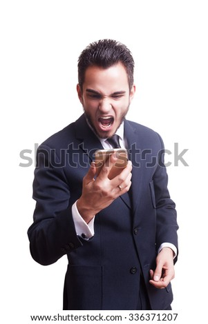 Angry bunsinessman yelling at his phone isolated over white background in studio shooting. Crise management. Frustration and anger. Corporate disaster - stock photo