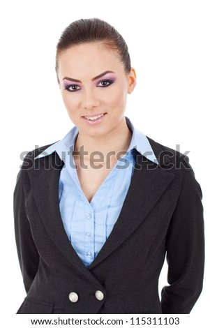 angry business man accusing you while reading on his tablet pad at his desk - stock photo