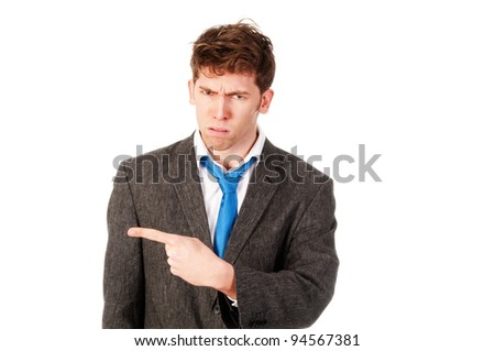 angry business man firing someone - stock photo