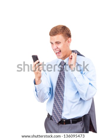 Angry business man screaming on cell mobile phone, portrait of young handsome businessman isolated over white background, concept of executive yelling, conversation problem communication crisis - stock photo