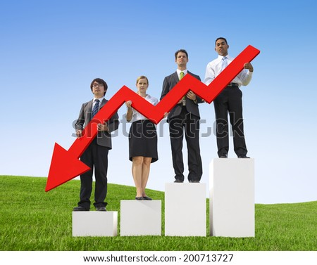 Angry Business People Holding Declining Line Graph on Bar Graph - stock photo