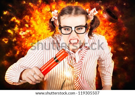 Angry Business Person Running With Stick Of Dynamite From A Exploding Fire Bomb While Under Explosive Stress - stock photo