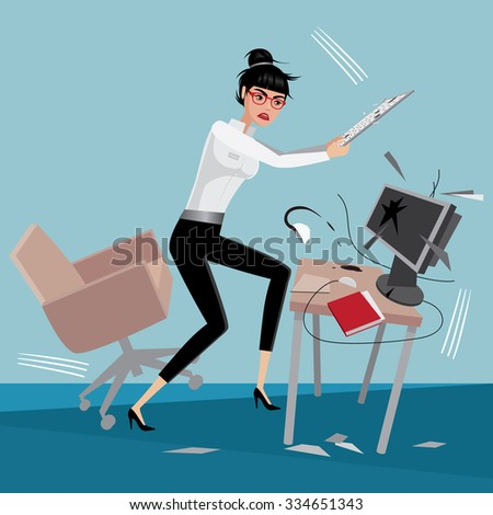 Angry business woman breaks a computer at workplace in office | raster version - stock photo