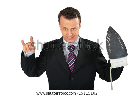angry businessman gangster with iron - stock photo