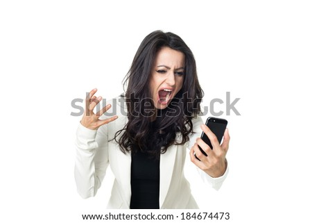 Angry businesswoman isolated  on a white background screaming on the phone - stock photo