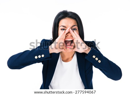 Angry businesswoman screaming over white background. Looking at camera - stock photo