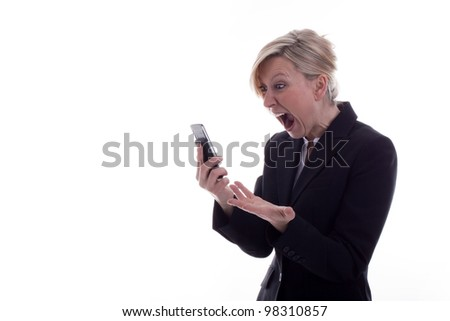 angry Businesswoman with phone - stock photo