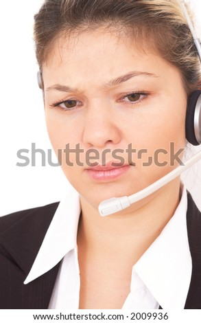 angry call center operator on white - stock photo
