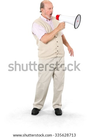 Angry Caucasian elderly man with short grey hair in business casual outfit using megaphone - Isolated - stock photo