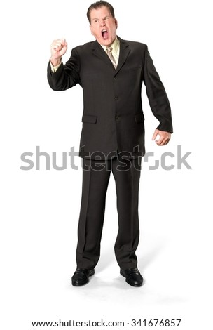 Angry Caucasian elderly man with short medium brown hair in business formal outfit arguing with person - Isolated - stock photo