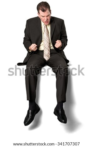 Angry Caucasian elderly man with short medium brown hair in business formal outfit shaking fist - Isolated - stock photo