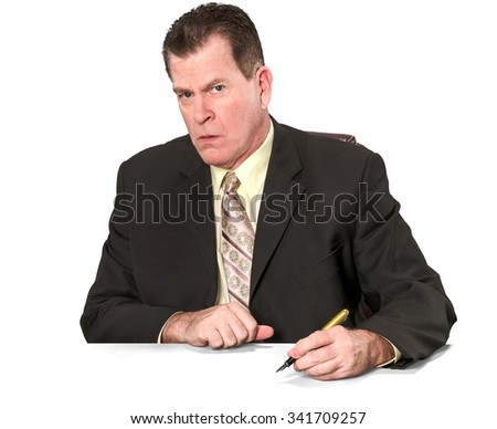 Angry Caucasian elderly man with short medium brown hair in business formal outfit using office chair - Isolated - stock photo