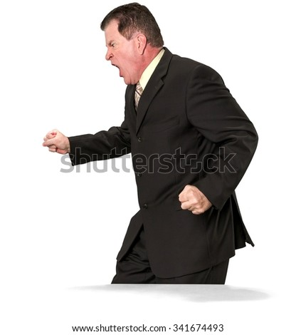 Angry Caucasian elderly man with short medium brown hair in business formal outfit with arms open - Isolated - stock photo
