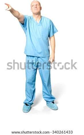 Angry Caucasian man in uniform pointing using finger - Isolated - stock photo