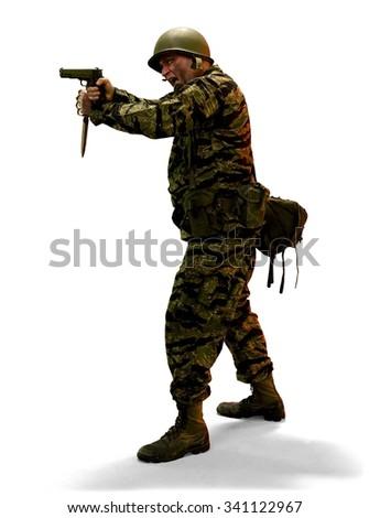 Angry Caucasian man in uniform using handgun - Isolated - stock photo