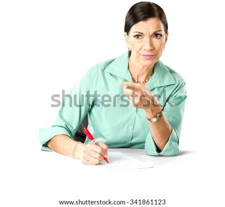 Angry Caucasian woman dark brown in business casual outfit using dry erase marker - Isolated - stock photo