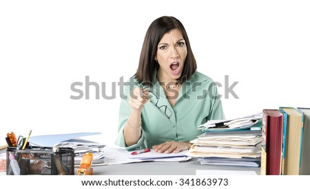 Angry Caucasian woman with medium dark brown hair in business casual outfit holding dry erase marker - Isolated - stock photo