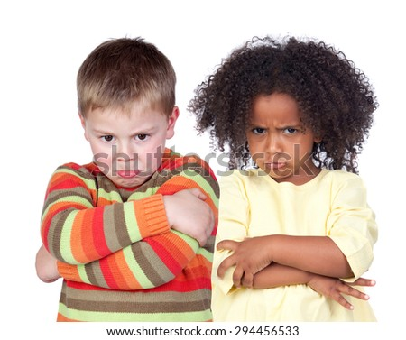Angry children isolated on a white background - stock photo