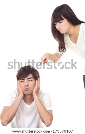 Angry couple arguing isolated on white - stock photo