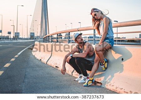 Angry couple not speaking on te bridge - stock photo