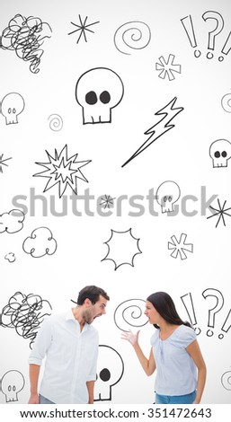 Angry couple shouting at each other against swearing doodles - stock photo
