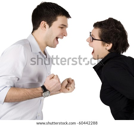 Angry couple yelling at each other. - stock photo
