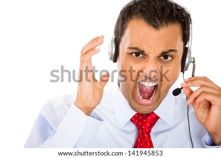 Angry customer service representative, call center person, receptionist yelling - stock photo