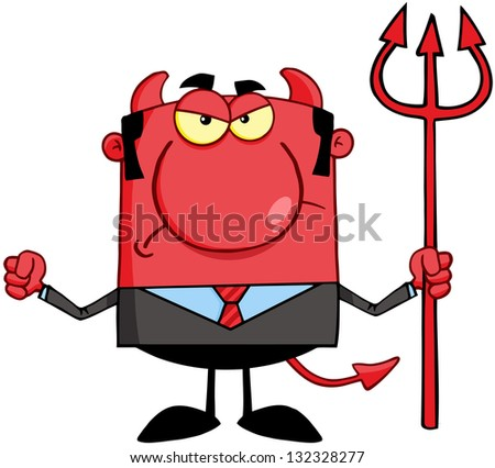 Angry Devil With A Trident. Raster Illustration.Vector Version Also Available In Portfolio. - stock photo