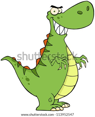 Angry Dinosaur Cartoon Character . Raster Illustration.Vector version also available in portfolio. - stock photo