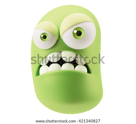 Angry Emoticon Face. 3d Rendering. - stock photo