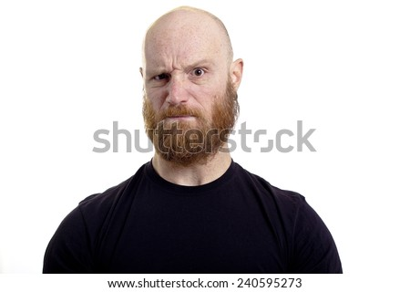 angry face man - stock photo