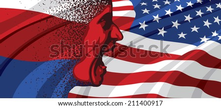 Angry face of Russia to USA - stock photo