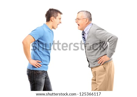Angry father and son having an argument, isolated on white background - stock photo