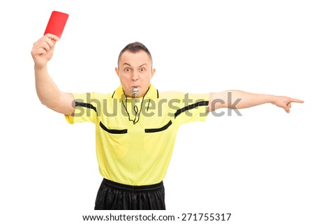 Angry football referee in a yellow jersey showing a red card and pointing with his hand isolated on white background - stock photo