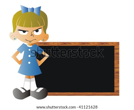 Angry girl with a blackboard at scool - stock photo