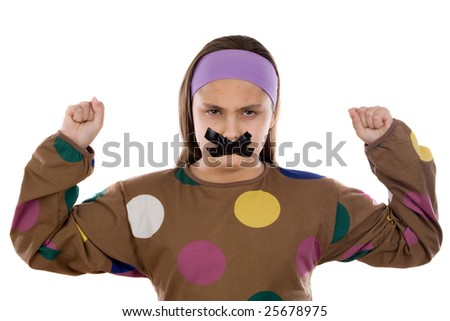 Angry girl with adhesive on her mouth isolated over white - stock photo