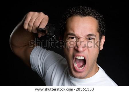 Angry Gun Man - stock photo