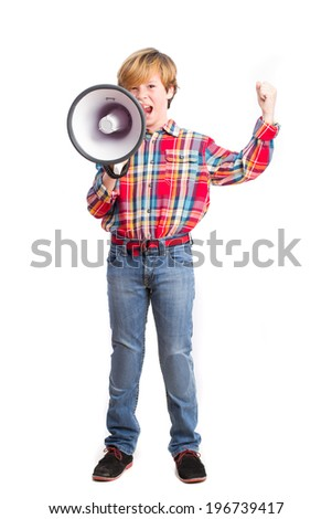 Angry kid shouting through a megaphone - stock photo