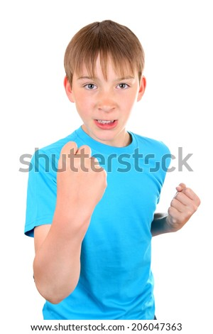 Angry Kid threaten with a Fist Isolated on the White Background - stock photo