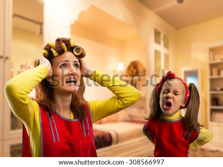Angry little girl crying - stock photo