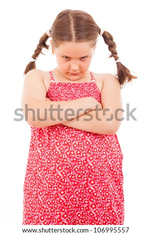 Angry little girl isolated over white background - stock photo