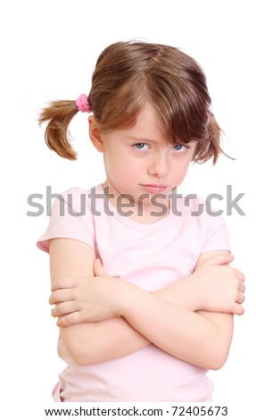 Angry little girl on a white background - stock photo