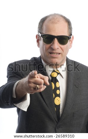 angry mad threatening corporate business senior executive wearing retro vintage fashion sunglasse portrait tough guy - stock photo