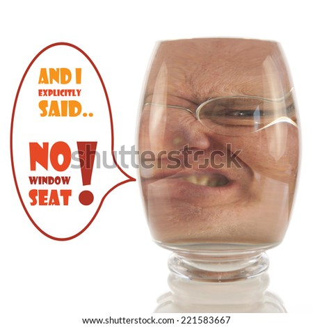 Angry male face locked up in vacuum of glass bell with comment - stock photo
