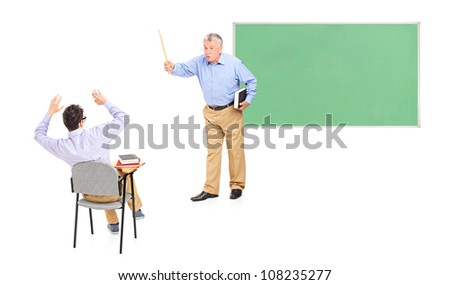 Angry male teacher yelling at a male student - stock photo