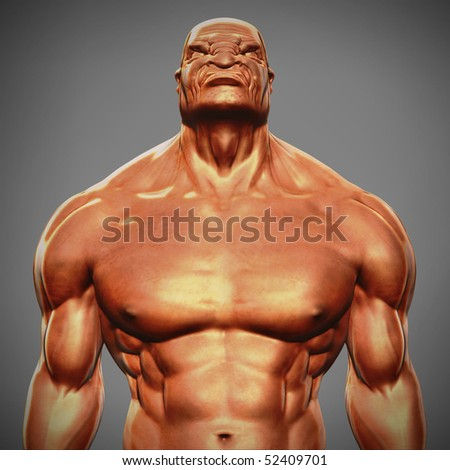 angry man bust - stock photo